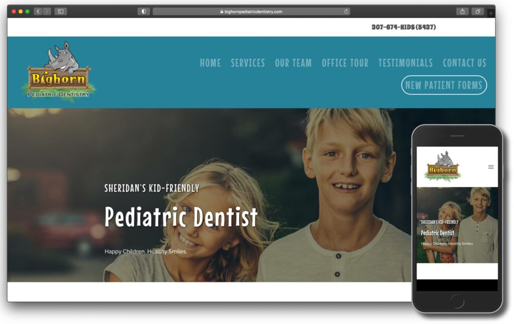 Bighorn Pediatric Dentistry New Website Screenshot Image